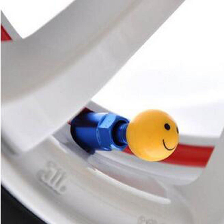 Smiley 4x Ventilkappen Set W/ürfel Bike Trike Auto Motorrad Chopper LKW Gummireifen Ventilkappe