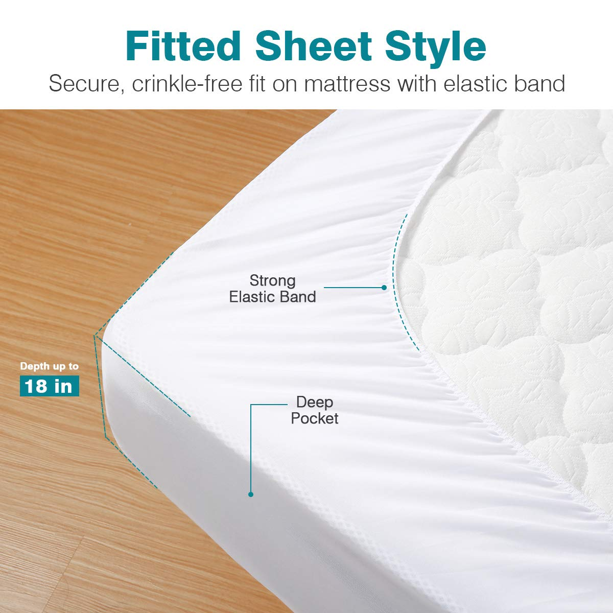 Docamor 100% Waterproof Mattress Protector, Hypoallergenic Mattress Cover with Premium Cotton Terry Surface - Vinyl Free - King Size - 3 Year Warranty by Docamor (Image #5)