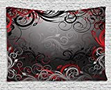 XHFITCLtd Red and Black Tapestry, Mystic Magical Forest Inspired Floral Swirls Leaves Nature Artwork, Wall Hanging for Bedroom Living Room Dorm, 80 W X 60 L Inches, Charcoal Grey Ruby