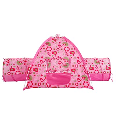 "Alvantor Floral Garden 2 Tunnel Playhouse Toddler Playground Kids Play Tent Indoor and Outdoor Pink Princess House Great Game and Toy Gift for Children Fun, 75.6""x44""x37"": Toys & Games"