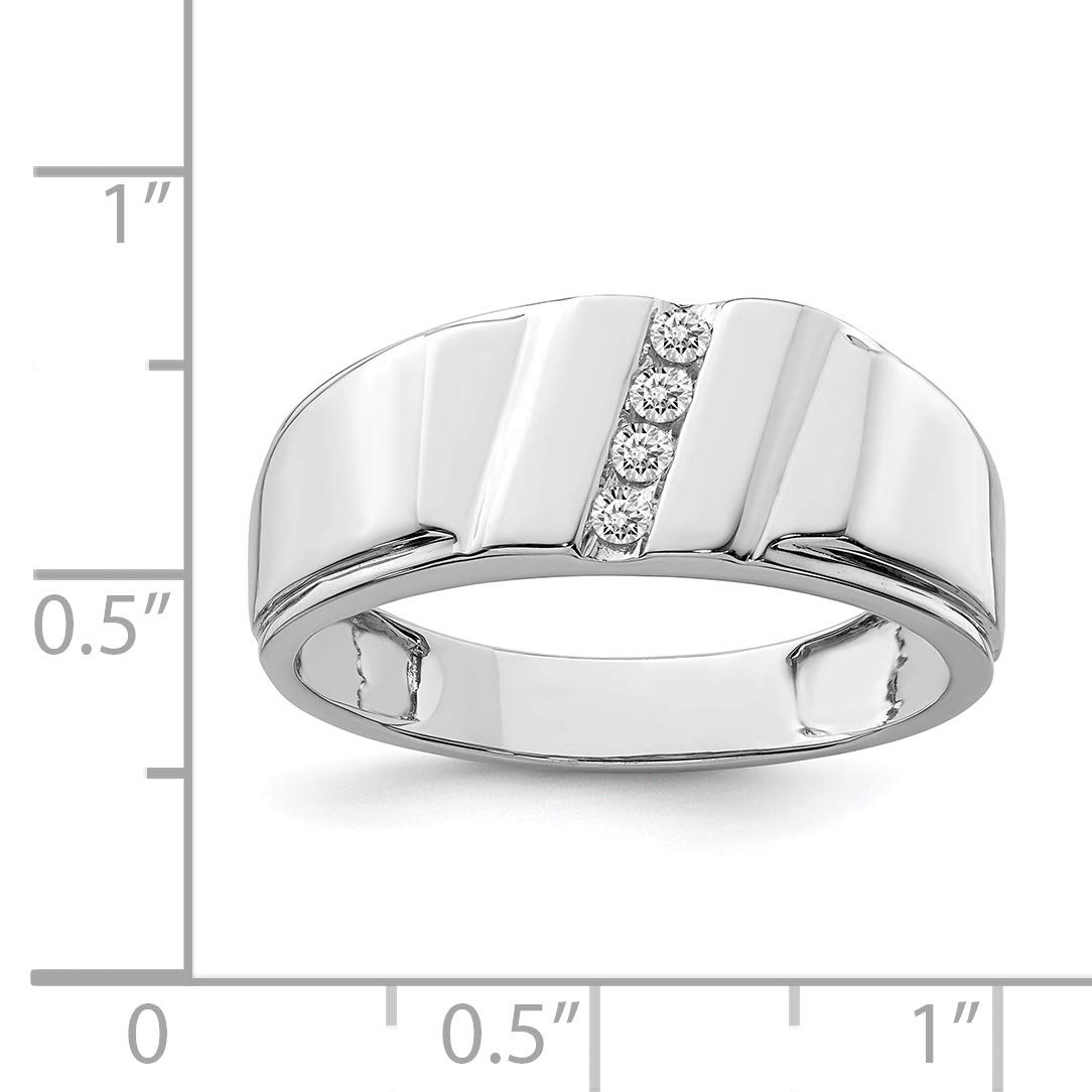 Color H-I, Clarity SI2-I1 Sterling Silver Rhodium Plated Diamond Mens Ring