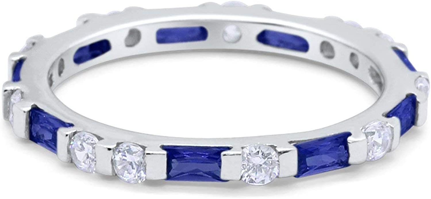 Blue Apple Co. 3mm Full Eternity Stackable Art Deco Wedding Band Baguette Round Cubic Zirconia 925 Sterling Silver