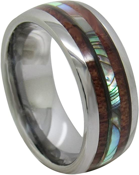 Thorsten OAHU Black Ceramic Ring with Shell Inlay and Beveled Edge Wedding Band 8mm Wide from Roy Rose Jewelry