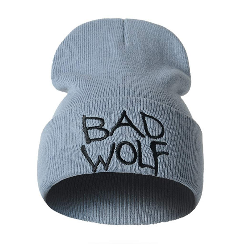 bffb89dc29c Amazon.com  Unisex Beanie Hat Winter Warm Knitted Bad Wolf Letters  Embroidery Caps (Black
