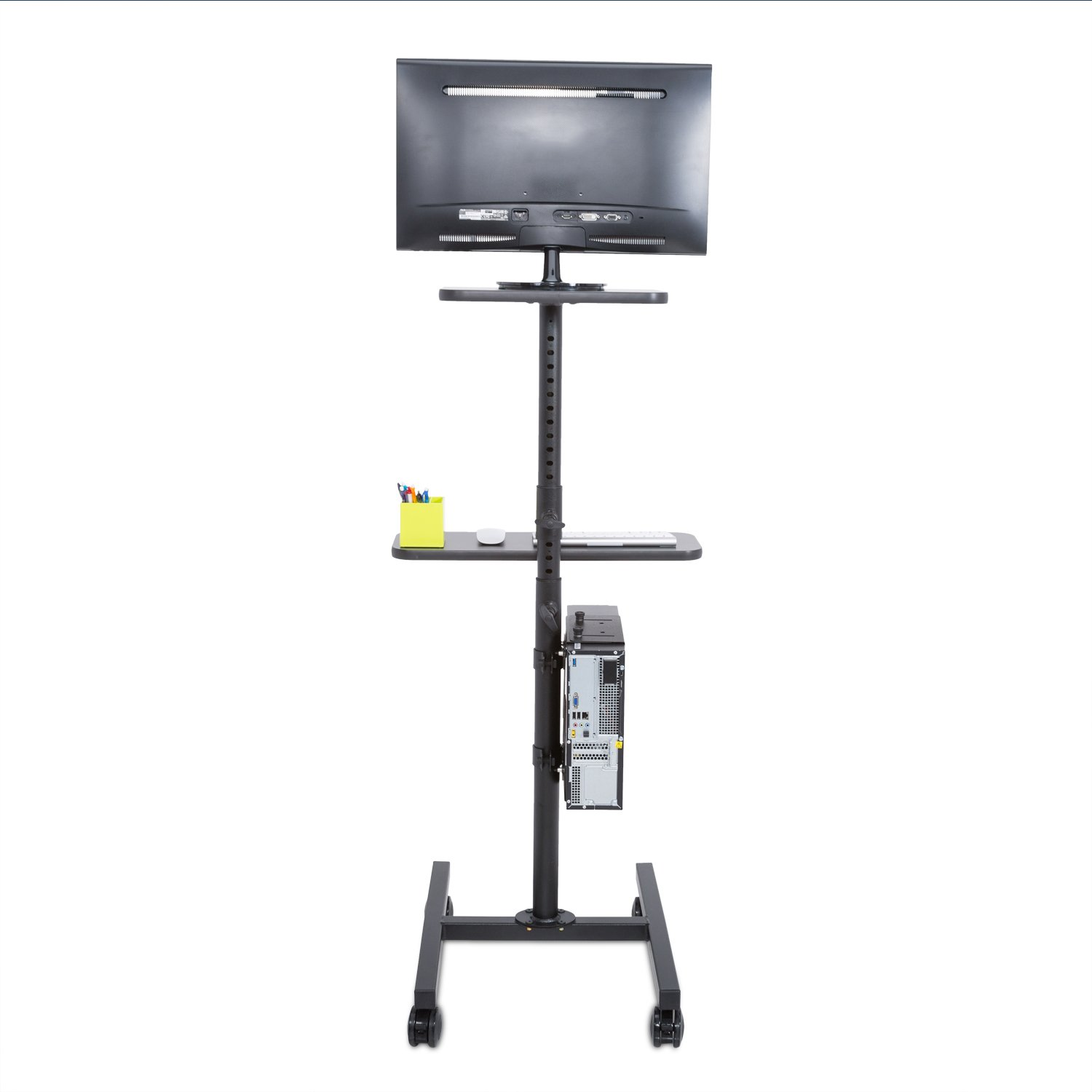 Height Adjustable Rolling Cart Workstation, Black by Versa Tables (Image #4)