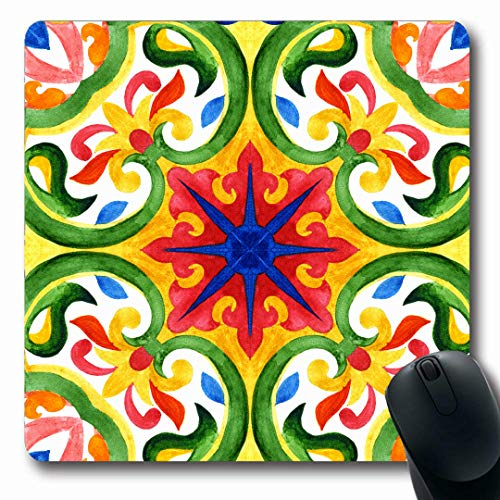 Faience Tile - Ahawoso Mousepads Mexican Blue Talavera Portuguese Azulejo Tiles Green Faience Gorgeous Pattern Vintage Watercolor Oblong Shape 7.9 x 9.5 Inches Non-Slip Gaming Mouse Pad Rubber Oblong Mat