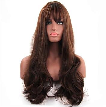 Pelucas onduladas marrones - pelucas largas naturales y de moda para las mujeres, peluca ondulada