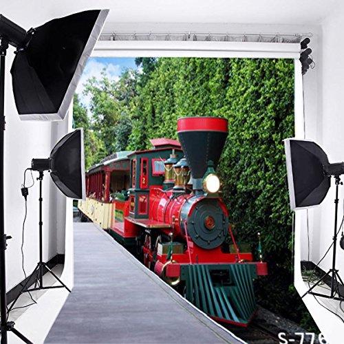 (Laeacco 3x5ft Thin Vinyl Photography Backdrop Railroad Engines Vintage Steam Locomotive Red Train Railway Scenery Locomotive Children Kids Boys Portraits Photo Background Studio Props)