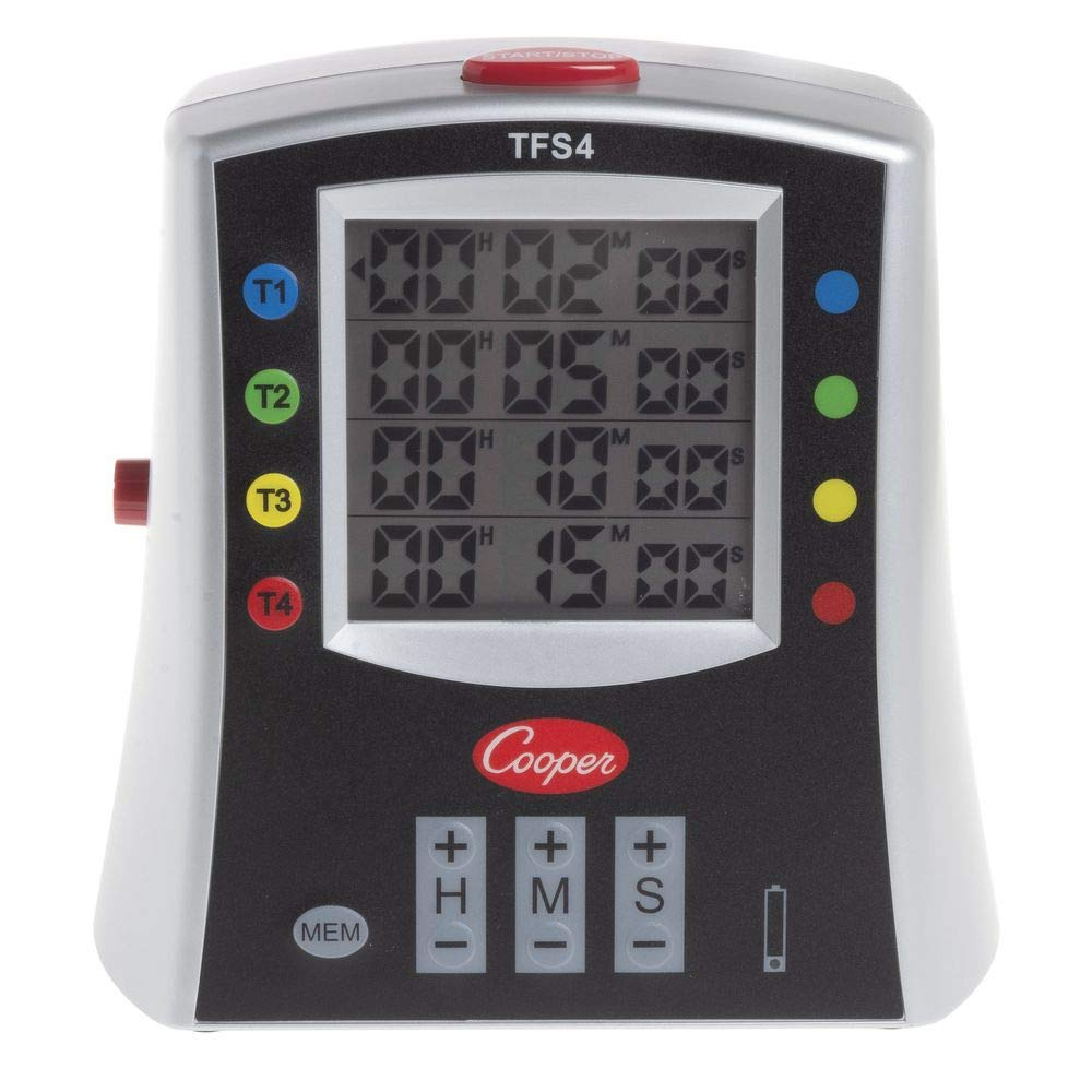 Cooper-Atkins TFS4-0-8 Large Color-Coded Multi-Station Digital Timer, 99 Hours 59 Minutes Unit Range by Cooper