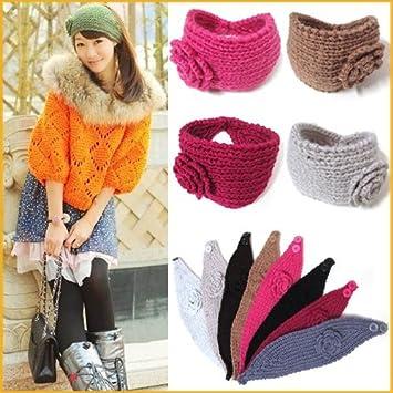 Amazon Flower Crochet Knit Knitted Headwrap Headband Ear Stunning Free Crochet Ear Warmer Pattern With Button Closure
