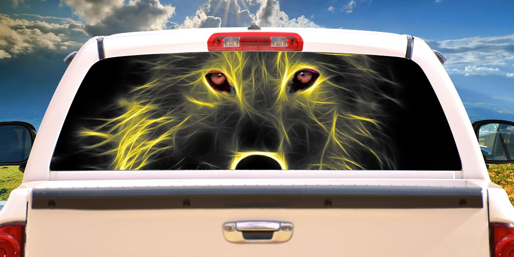 SignMission NEON Wolf Rear Window Graphic Truck View Thru Vinyl Decal Back, 16'' X 54'', by SignMission