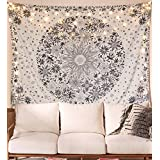 WE-ART Bohemian Tapestry Wall Hanging,White Floral Tapestry with Dotted Daisy Medallion Print Bedroom Boho Hippie Home Decor