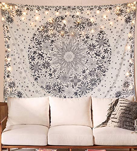 Neasow Bohemian Tapestry Wall Hanging, Beige White Floral Tapestry with Dotted Daisy Medallion Print Bedroom Boho Hippie Home Decor, 50×60 inches