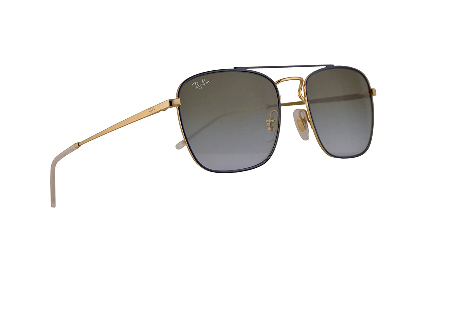bbbe70b791d Amazon.com  Ray-Ban RB3588 Sunglasses Gold Top On Blue w Light Blue  Gradient Green Lens 55mm 9062I7 RB 3588  Clothing