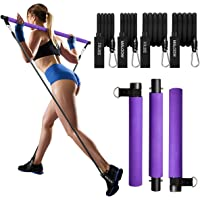 MALOOW Pilates Exercise Stick Kit with 4 (2 Strong & 2 Standard) Resistance Bands,Portable Compact 3-Section Yoga…