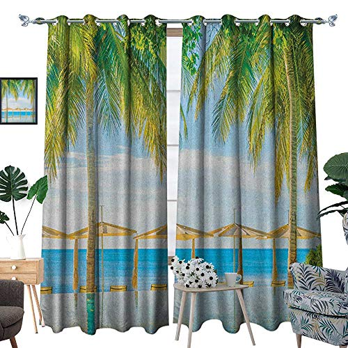 (Warm Family Landscape Patterned Drape for Glass Door Exotic Beach with Pool Nature with Soft Sun Rays Fantastic Holiday Theme Print Waterproof Window Curtain W72 x L96 Green Blue)