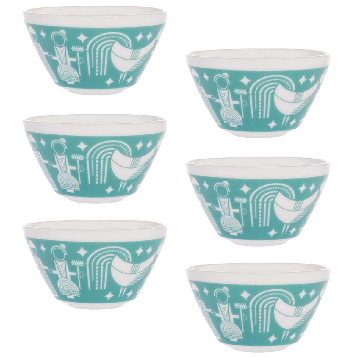 Amazon.com | World Kitchen (Set of 6) Retro White Glass Soup Cereal ...