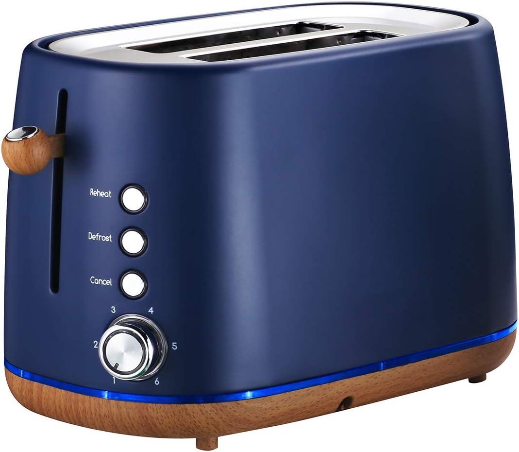 Kichele 2 Slice Toaster Retro Stainless Steel Toaster with Elegant Wooden Base,Matte Blue