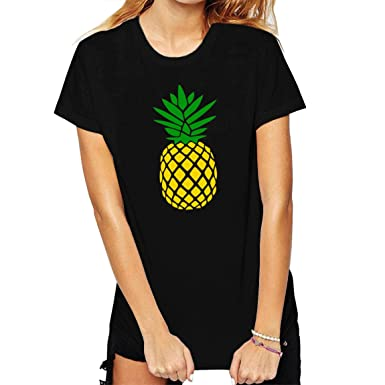 f21794daf52d BLACKMYTH Women Cute Graphic T shirts Funny Tops pineapple Tees Black Small