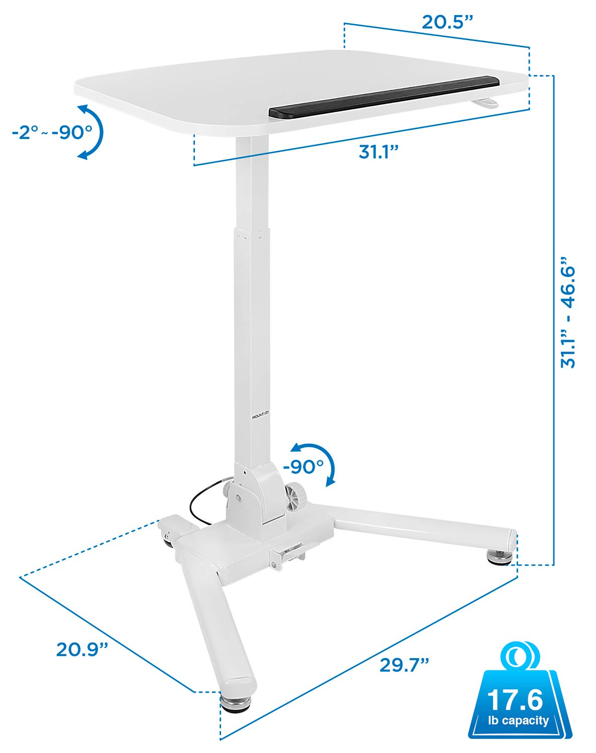 Mount-It! Standing Folding Laptop Cart, Sit Stand Mobile Desk with Height Adjustable 31.1'' x 20.5'' Platform, Supports up to 17.6 lbs, White (MI-7949) by Mount-It! (Image #8)