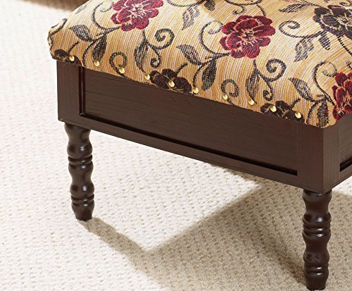 Material: 100/% Polyester, Color Cream Home Furniture Floral Pattern Rectangle Shape Flame Resistant Storage Ottoman