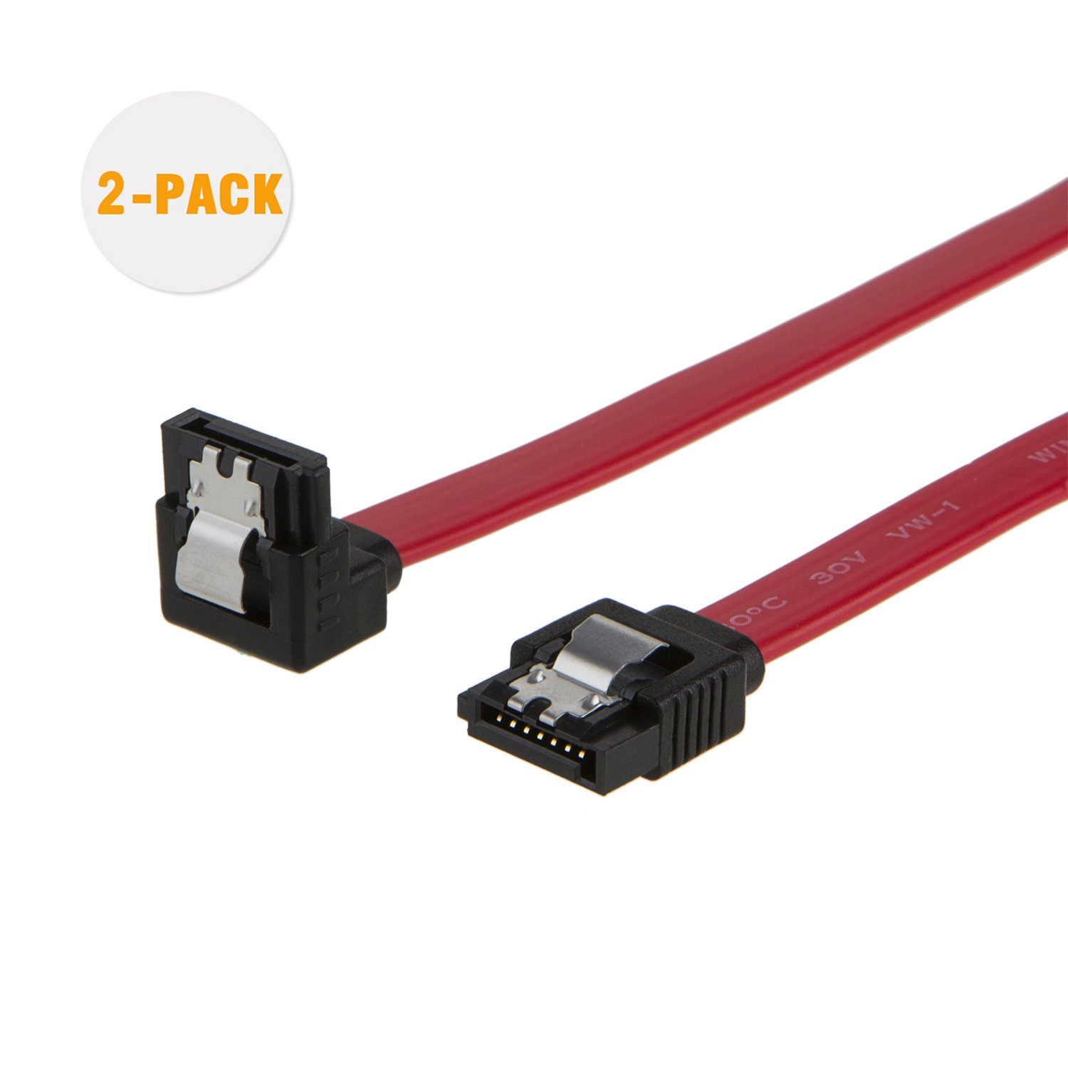 SATA III Cable, CableCreation [5-Pack] 18-inch SATA III 6.0 Gbps 7pin Female to Female Data Cable with Locking Latch, Red CS0085