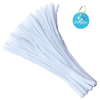 Carykon 100 PCS Fuzzy Chenille Stems Pipe Cleaners for Arts and Crafts (White): Arts, Crafts & Sewing