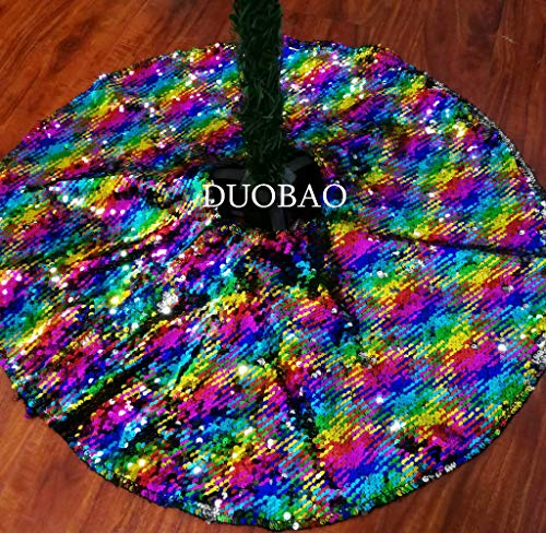 DUOBAO Sequin Tree Skirt 48'' Round Rainbow to Silver Sequence Tree Skirt That Change Color Mermaid Sequin Christmas Tree Skirt Holiday Decorations for Christmas 48' Center Post Kits