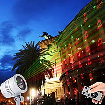 Christmas Laser Light,YINUO LIGHT Indoor Outdoor Waterproof Landscape Decoration Projector Light With Remote Control 5 Patterns Red and Green Laser Light Show For Xmas,Halloween.Holiday (Silver)