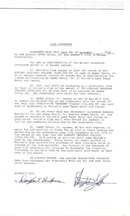 Sammy Davis Jr Signed Rat Pack Authentic Autographed Loan Agreement Contract  (PSA/DNA)