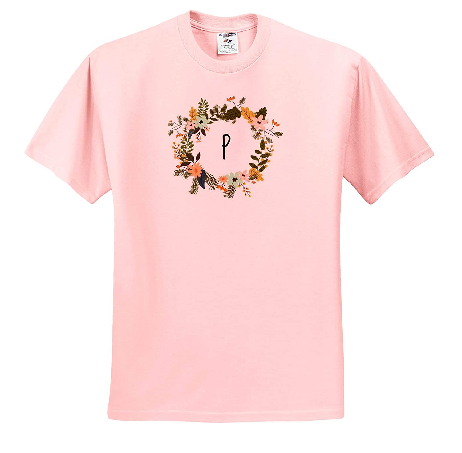 T-Shirts Image of P Floral Monogram Quote 3dRose Gabriella B