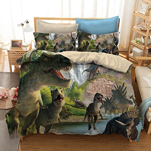 ADASMILE A & S 3D Dinosaur World Bedding Sets 3 Pieces Jurassic Duvet Quilt Cover Set for Kids Boys Teens, Queen Size ()