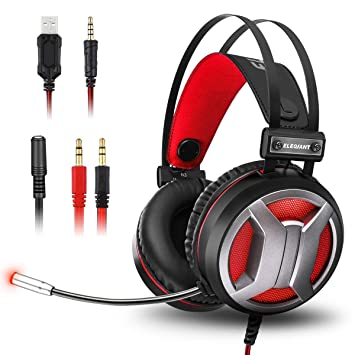 ELEGIANT Auriculares Gaming, Cascos Gaming PS4 con Micrófono 4D Sonido Estéreo Bass LED para PC