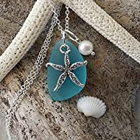 Handmade in Hawaii, turquoise bay blue sea glass necklace,starfish charm,fresh water pearl, sterling silver chain,gift box,beach glass necklace,sea glass jewelry, gifts for her,Hawaiian jewelry