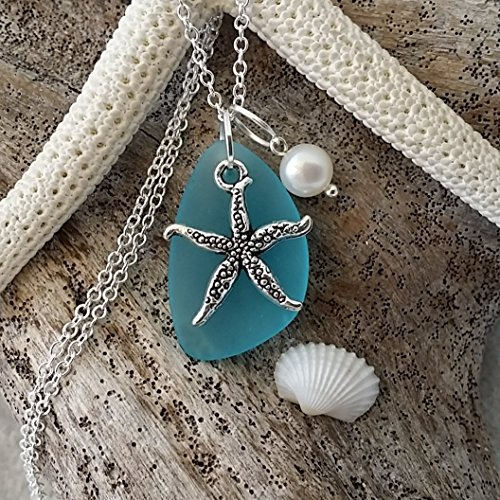 Handmade in Hawaii, turquoise bay blue sea glass necklace,starfish charm,fresh water pearl, sterling silver chain, Hawaiian Gift, FREE gift wrap, FREE gift message, FREE shipping (Sterling Charm Turquoise Silver)