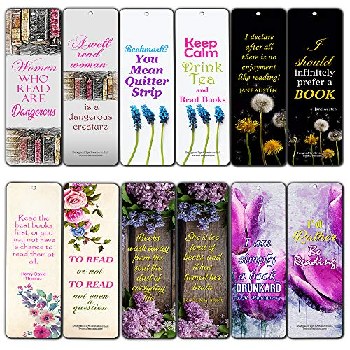 Creanoso Floral Reading Bookmarks for Women (12-Pack) - Premium Gift Set - Inspiring Reading Word Sayings Quotes for Ladies, Wife, Girls - Six Bulk Assorted Bookmarks Designs (Bookmarks Women)