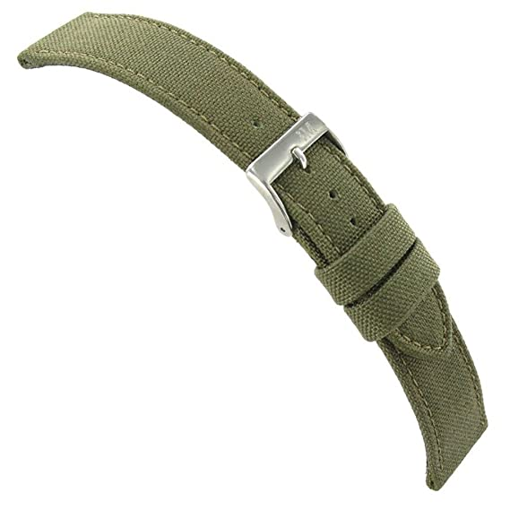 cc4a62a3920 22mm Morellato Padded Stitched Genuine Cordura Canvas Army Green Watch Band   Amazon.ca  Watches