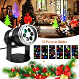 Christmas Projector Light- ZONV Rotating Halloween Projection LED Lights Spotlights with 12PCS Switchable Pattern Lens for Holiday,Wedding,Party,Wall,Kids Room,Home Decor