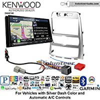 Volunteer Audio Kenwood DNX874S Double Din Radio Install Kit with GPS Navigation Apple CarPlay Android Auto Fits 2009-2012 Hyundai Genesis (Silver) (Automatic A/C controls)