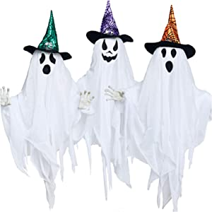 PRAISUN Halloween Decor Ghosts, Set of 3, Hanging House Prop Decorations with Colorful Hats, Indoor/Outdoor Halloween Props for Yard Home Parties