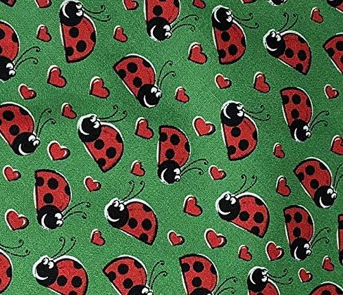 Ladybugs on Green Dog Bandana Medium