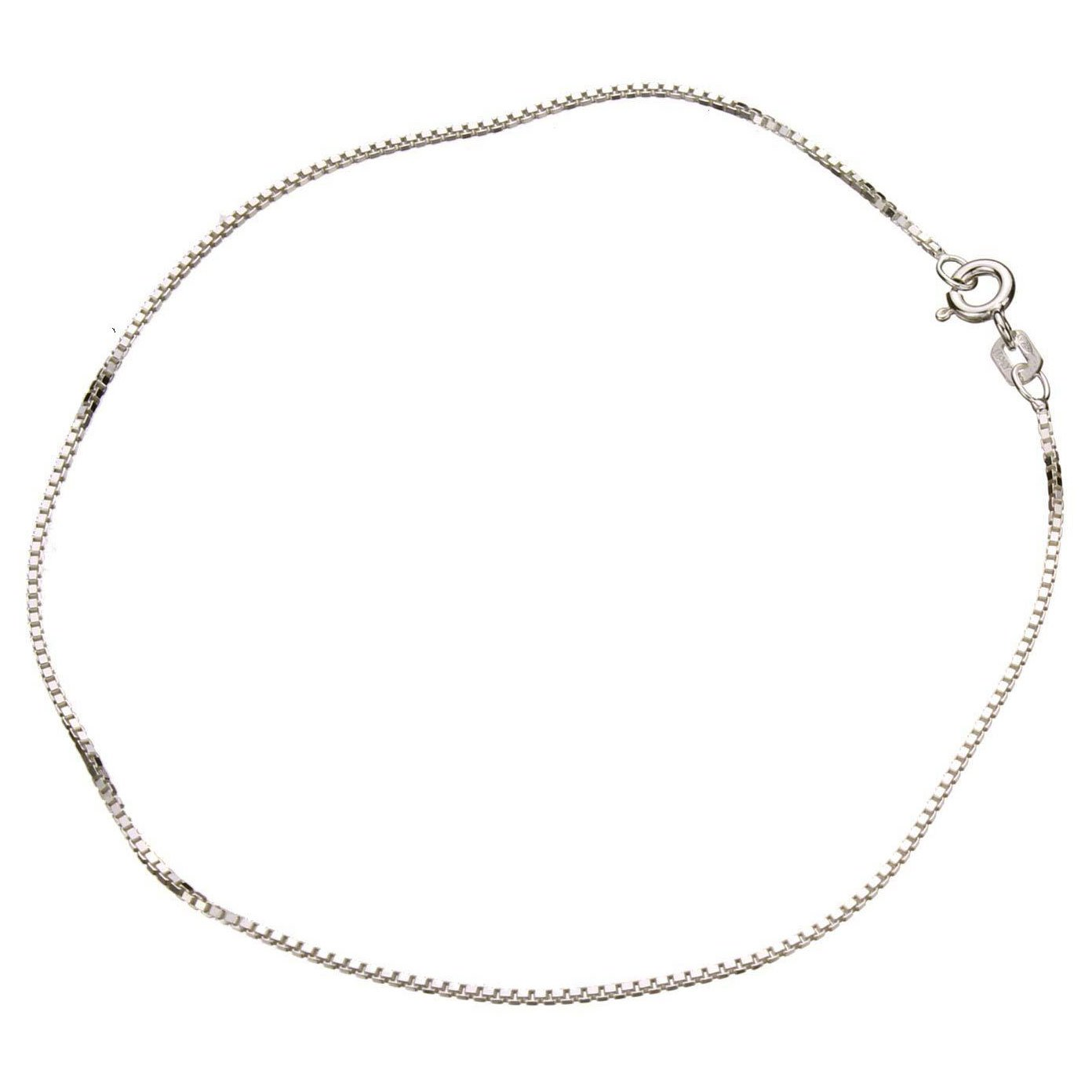 Sterling Silver 1.1mm Box Link Nickel Free Chain Anklet Italy 11 Inch