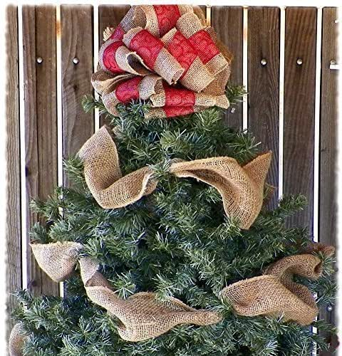 10 inch red ribbon and burlap christmas tree for Burlap ribbon on tree