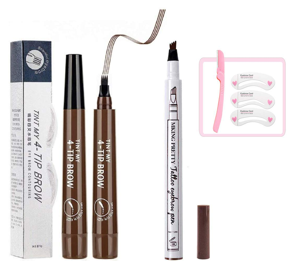 Tattoo eyebrow pencil waterproof Eyes Makeup with a Micro Fork Tip Applicator Creates Natural Looking Brows Effortlessly All Day (Chestnut and Dark Brown)