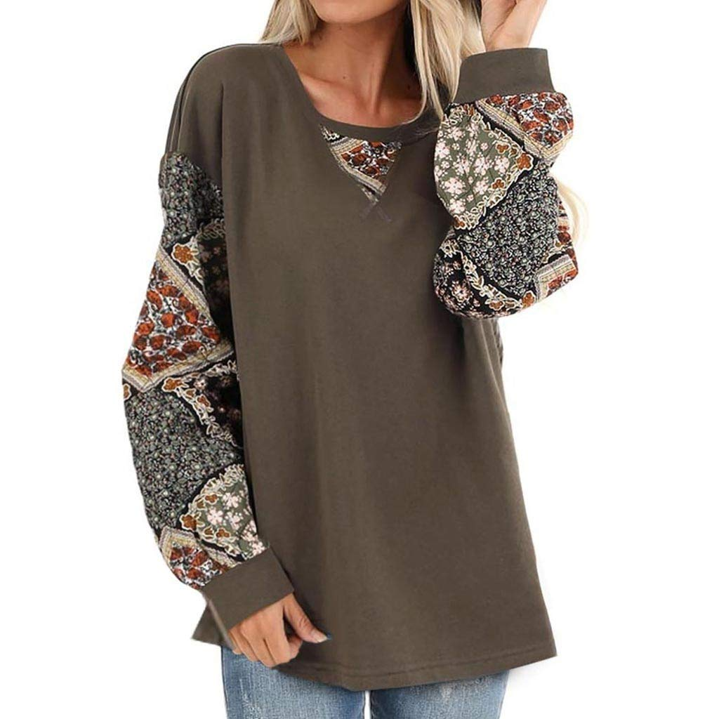 Womens Casual Bohemian Print Shirt Splice Long Sleeve Blouse Round Neck Pullover Loose Tops for Travel Holiday Work (Small, Army Green) by Aritone