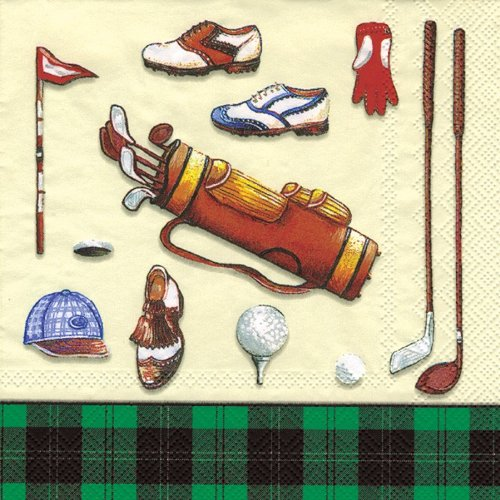 - Ideal Home Range 20 Count Boston International 3-Ply Paper Cocktail Napkins, Golf Classic