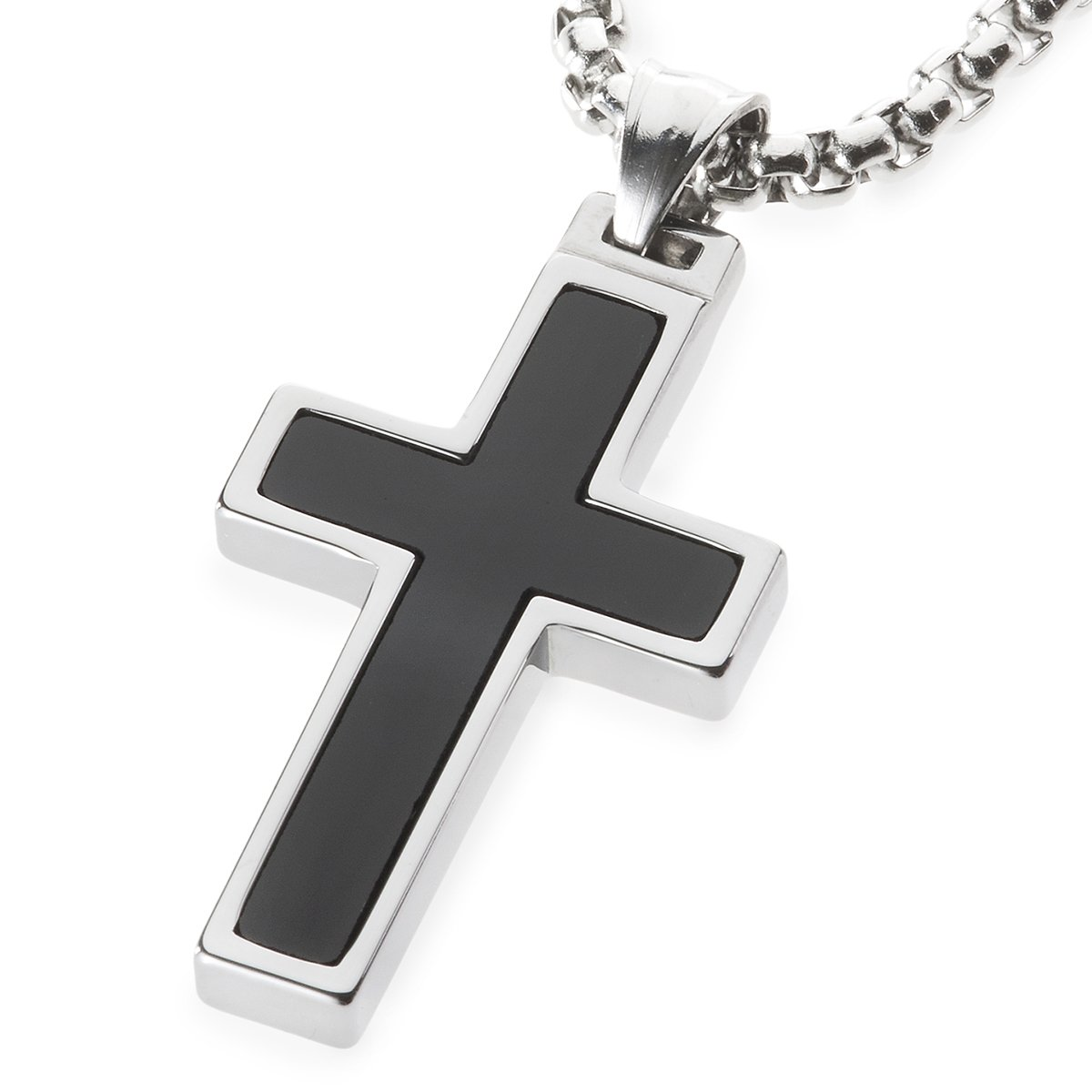 Unique GESTALT Onyx Inlay Tungsten Cross Pendant. 4mm wide Surgical Stainless Steel Box Chain. 26 Inch Length