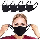 4pcs Mondkapje zwart Mondkapje Wasbaar   zonnescherm winddicht ijs zijde katoenen masker   Herbruikbaar Openbaar vervoer unisex ov geschikt face mask (Zwart)
