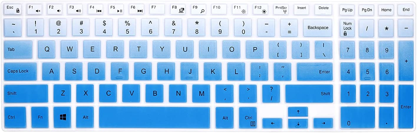 WYGCH Silicone Keyboard Cover Skin for Dell Inspiron 15 3000 5000 Series/New Inspiron 17 3000 Series/Inspiron 17 7786 /G3 15 17 Series/New G5 15 Series/for Dell G7 15 17 Series-Gradual Mint Blue