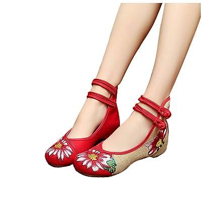 Los viejos zapatos de tela de Beijing zapatos planos redondos zapatos de mujer zapatos rojos elegantes
